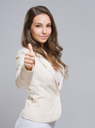 Gorgeous relaxed happy elegant young brunette woman  Stock Photo