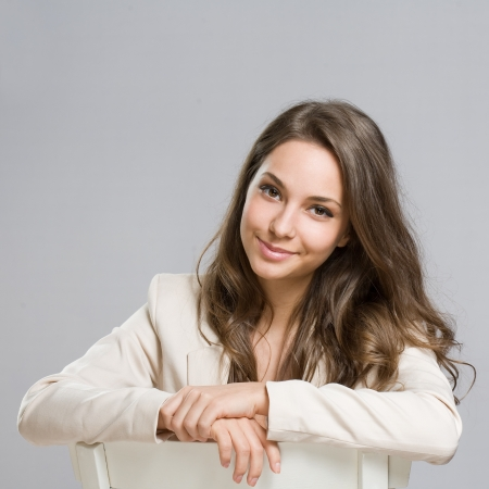 Portrait of relaxed looking, elegant young brunette woman  Stockfoto