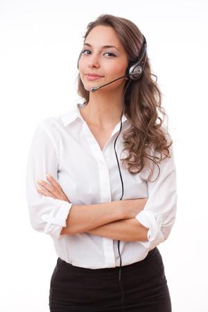Portrait of smiling friendly office girl wearing headset. Stockfoto