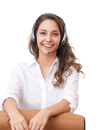 친절 사무실 소녀 입고 헤드셋의 초상화.