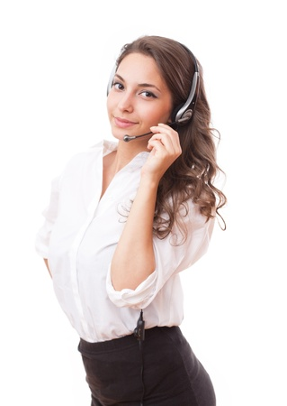 Portrait of a beautiful friendly young office woman. Stockfoto