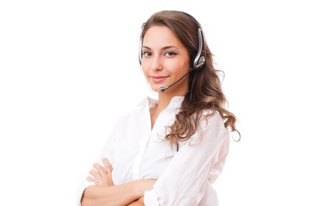 it is isolated: Portrait of a fashionable cute office girl wearing headset. Stock Photo