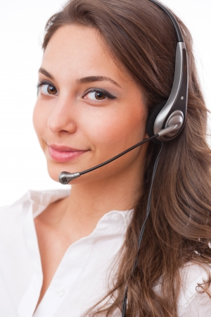 call girl: Portrait of a beautiful friendly young office woman. Stock Photo