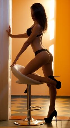 Gorgeous lingerie model in sensual moody light.