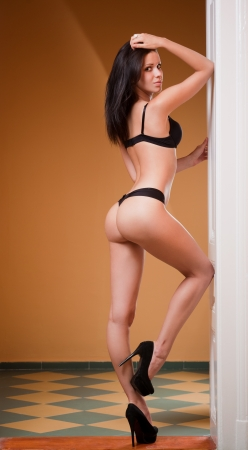lenceria: Retrato de cuerpo entero de la modelo de lencería sexy slim.