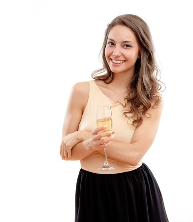 Portrait of a beautiful brunette with glass of champagne. photo
