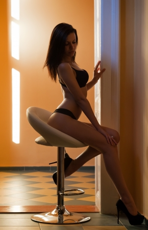 female sexuality: Lingerie shot of young brunette woman with perfect slender body.