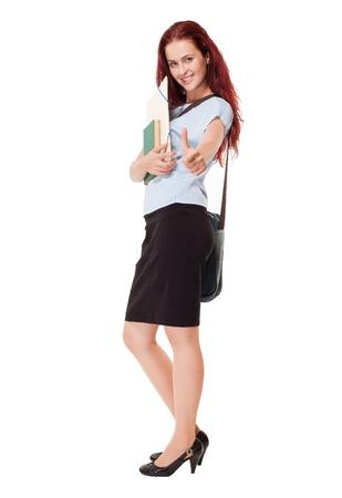 zapatos escolares: Retrato de un elegante luciendo hermosa joven estudiante.