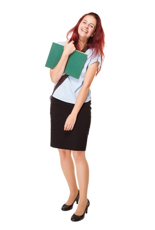 Portrait of cute fashionable young student woman.