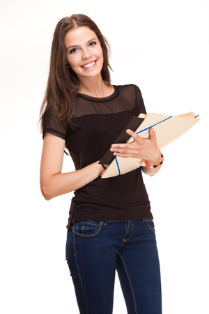 Portrait of beautiful young brunette student woman  photo