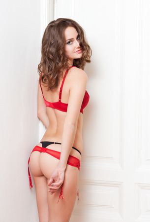 Portrait of an alluring young brunette woman in lingerie.