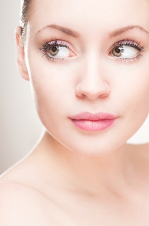 fair skin: Beauty shot of gorgeous young feminine blond woman