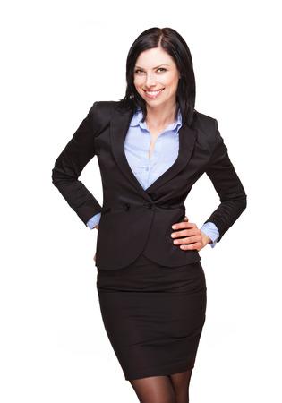 elegant: Portrait d'une élégante femme d'affaires belle isolé sur blanc