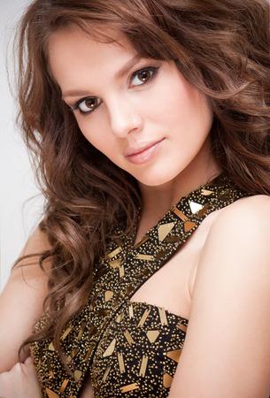 alluring: Portrait of an alluring elegant brunette beauty. Stock Photo