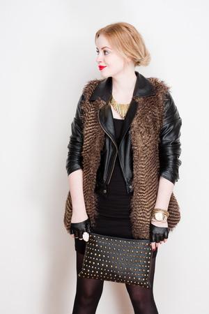 Portrait of a super stylish, fashionable beautiful young woman. photo