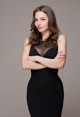 cleavage: Portrait of a gorgeous sensual fashionable young brunette woman.