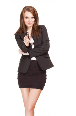 Expressive portrait of a gorgeous young brunette businesswoman. photo