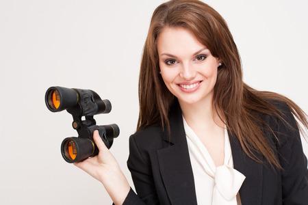 Expressive portrait of a gorgeous young brunette businesswoman. photo