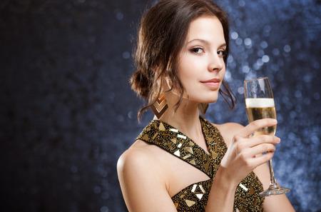 Portrait of a sensual gorgeous festive brunette woman. photo