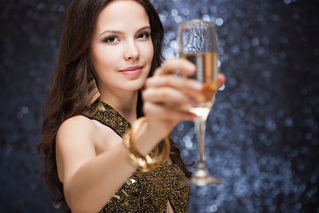 Portrait of a gorgeous young festive brunette woman. photo