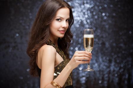 Portrait of a sensual gorgeous festive brunette woman.