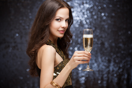 elite: Portrait of a sensual gorgeous festive brunette woman.