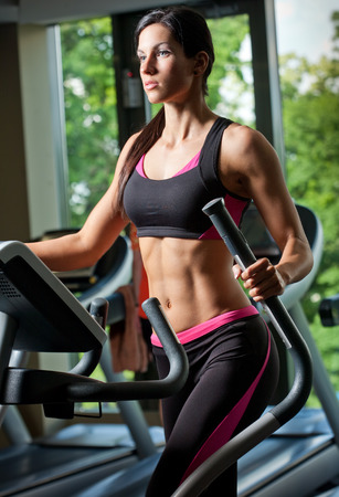 cardio fitness: Portrait of slender lean fit young brunette woman.
