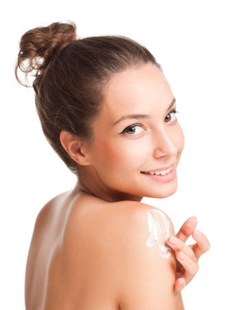 Porträt einer wunderschönen jungen Brünette Schönheit mit Kosmetika. Standard-Bild