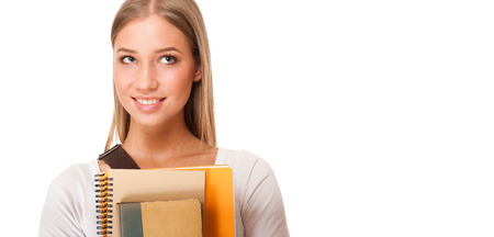 choose university: Portrait of a beautiful young blond student girl.