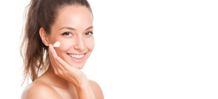 moisturizers: Portrait of a gorgeous brunette woman with smooth and healthy skin.