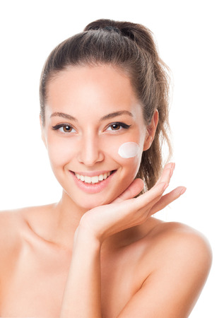 moisturizer: Portrait of a gorgeous brunette woman with smooth and healthy skin.