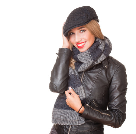 Portrait of a gorgeous winter fashion girl in leather jacket.