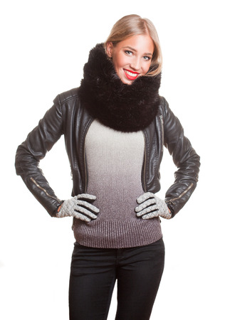 leather gloves: Portrait of a gorgeous winter fashion girl in leather jacket.