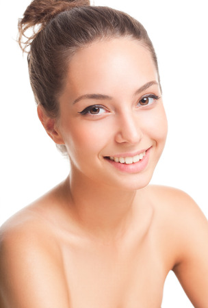 aging skin: Portrait of a gorgeous brunette woman with smooth and healthy skin.
