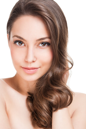 gorgeous woman: Portrait of a gorgeous young brunette woman with healthy hair.
