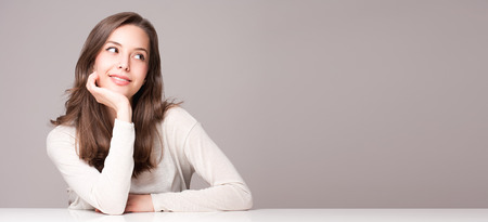 Expressive portrait of gorgeous young brunette woman.