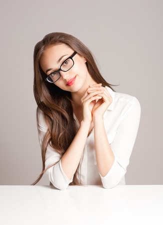 woman beautiful: Portrait of a gorgeous young pensive brunette woman.