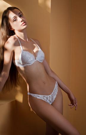 mujeres eroticas: Retrato artístico de la belleza morena de lencería en la iluminación creativa.