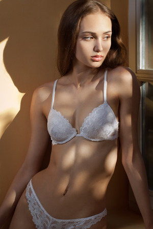 nude young girl: Artistic portrait of brunette lingerie beauty in creative lighting. Stock Photo