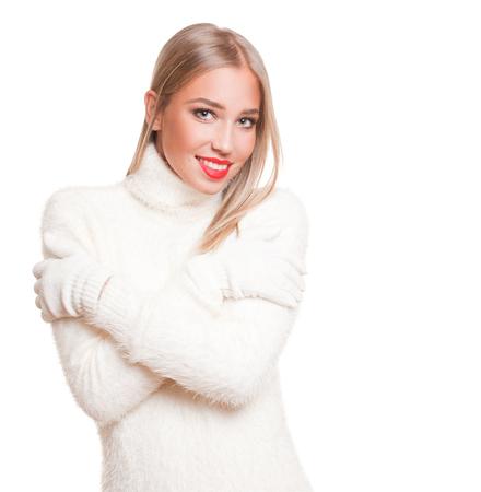 blond girl: Portrait of a beautiful blond winter fashion beauty. Stock Photo