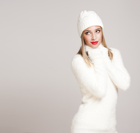 Portrait of a gorgeous young blond woman in winter fashion. Stock Photo