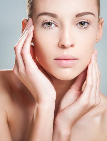 Studio closeup portrait of a makeup beauty.