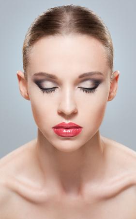makeup eyes: Studio closeup portrait of a makeup beauty.