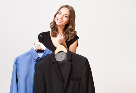 selection: Portrait of a young brunette beauty having shopping fun. Stock Photo