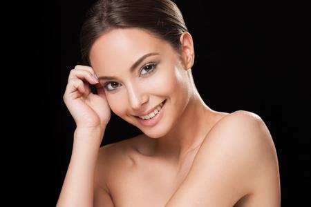 Portrait of a happy smiling brunette makeup beauty. Stockfoto