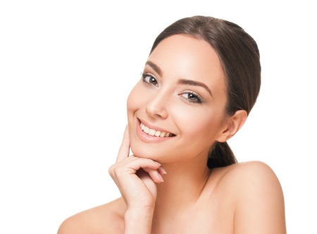 skin care woman: Portrait of a happy smiling brunette makeup beauty. Stock Photo
