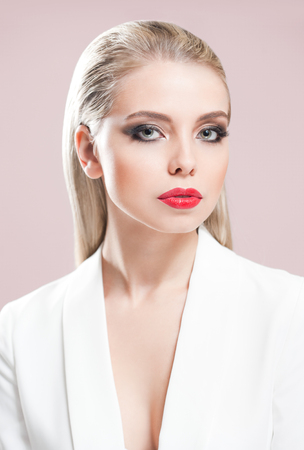 Portrait of a blonde beauty in elegant makeup. Reklamní fotografie
