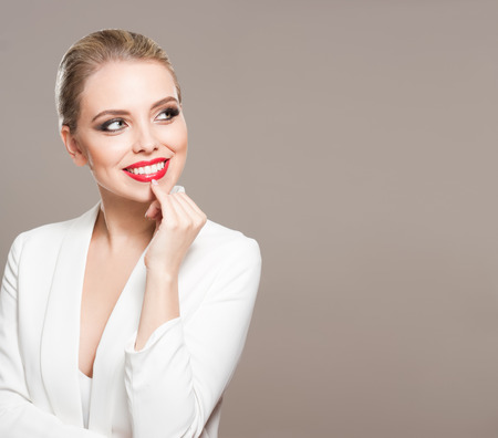 eye shade: Portrait of a blonde beauty in elegant makeup. Stock Photo