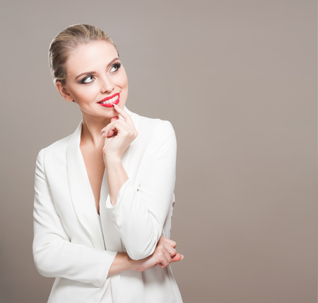 Portrait of a gorgeous young blond woman in festive makeup.
