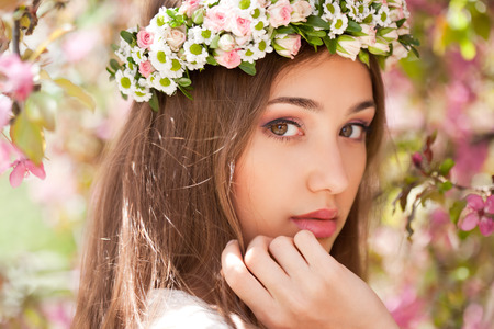 makeup eyes: Outdoors portrait of an amazing natural spring beauty.